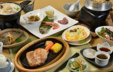 夕食(十勝ポークステーキ)